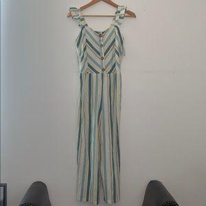 Art Class pant jumpsuit teal striped XL 14/16